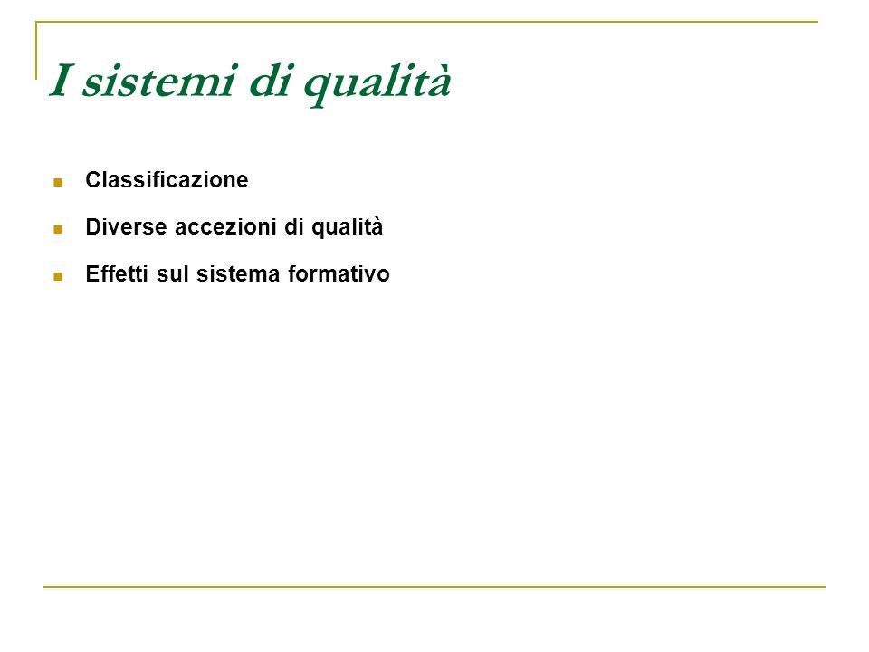 I sistemi di qualità Classificazione Diverse accezioni di qualità Effetti sul sistema formativo