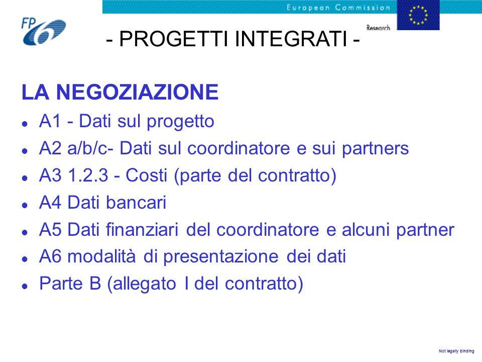 Not legally binding LA NEGOZIAZIONE l A1 - Dati sul progetto l A2 a/b/c- Dati sul coordinatore e sui partners l A3 1.2.3 - Costi (parte del contratto)
