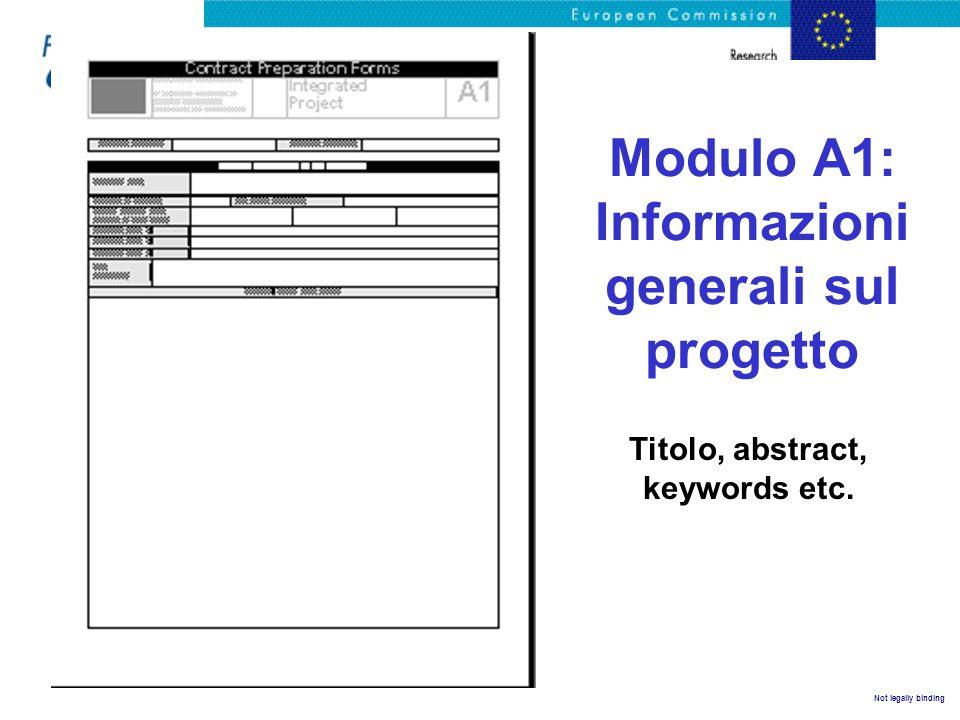 Not legally binding Modulo A1: Informazioni generali sul progetto Titolo, abstract, keywords etc.