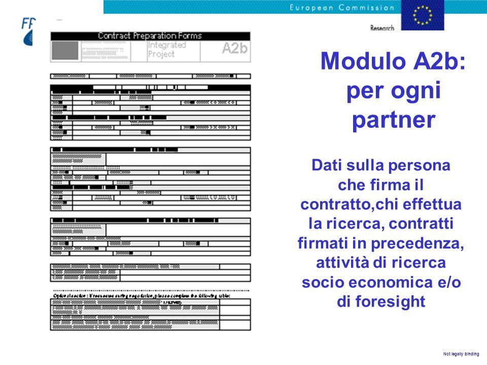 Not legally binding Modulo A2b: per ogni partner Dati sulla persona che firma il contratto,chi effettua la ricerca, contratti firmati in precedenza, a