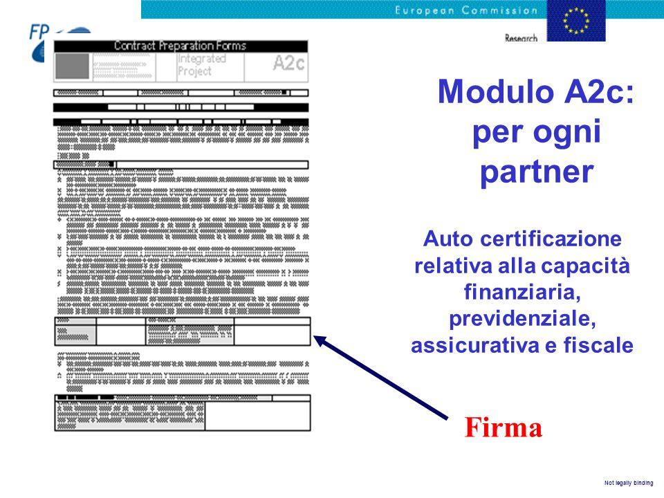 Not legally binding Modulo A2c: per ogni partner Auto certificazione relativa alla capacità finanziaria, previdenziale, assicurativa e fiscale Firma