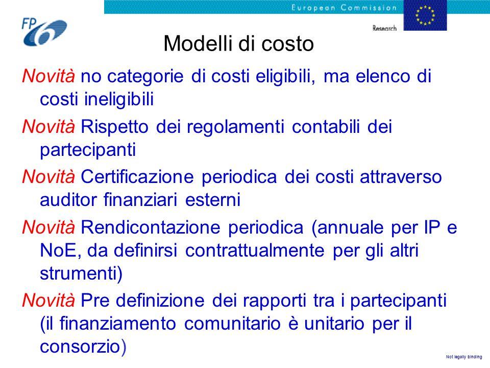 Not legally binding Modelli di costo Novità no categorie di costi eligibili, ma elenco di costi ineligibili Novità Rispetto dei regolamenti contabili