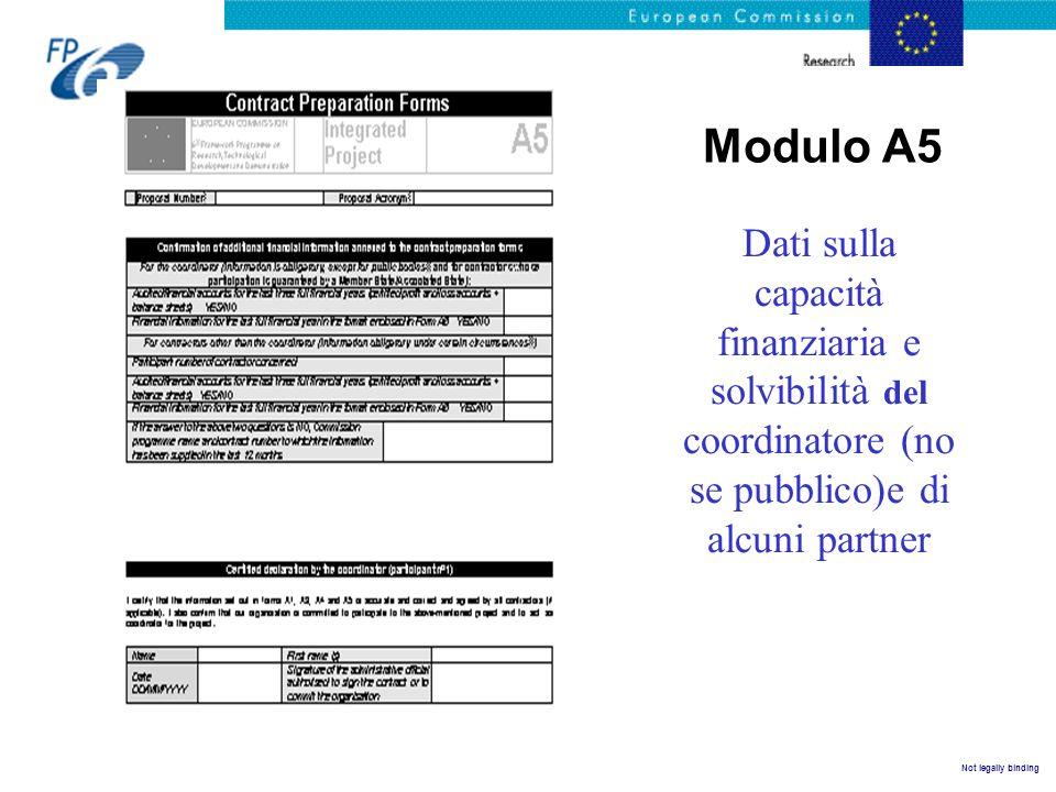 Not legally binding Modulo A5 Dati sulla capacità finanziaria e solvibilità del coordinatore (no se pubblico)e di alcuni partner