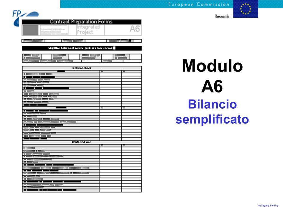 Not legally binding Modulo A6 Bilancio semplificato