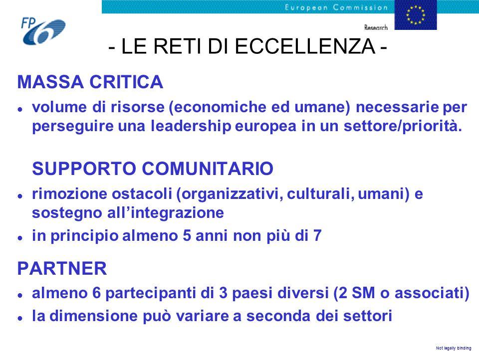 Not legally binding - LE RETI DI ECCELLENZA - MASSA CRITICA l volume di risorse (economiche ed umane) necessarie per perseguire una leadership europea