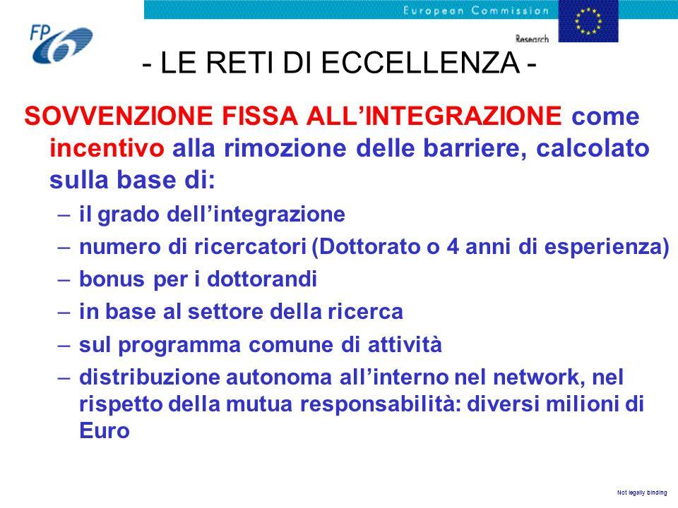 Not legally binding - LE RETI DI ECCELLENZA - SOVVENZIONE FISSA ALLINTEGRAZIONE come incentivo alla rimozione delle barriere, calcolato sulla base di: