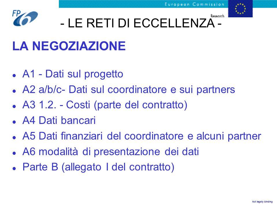Not legally binding - LE RETI DI ECCELLENZA - LA NEGOZIAZIONE l A1 - Dati sul progetto l A2 a/b/c- Dati sul coordinatore e sui partners l A3 1.2. - Co