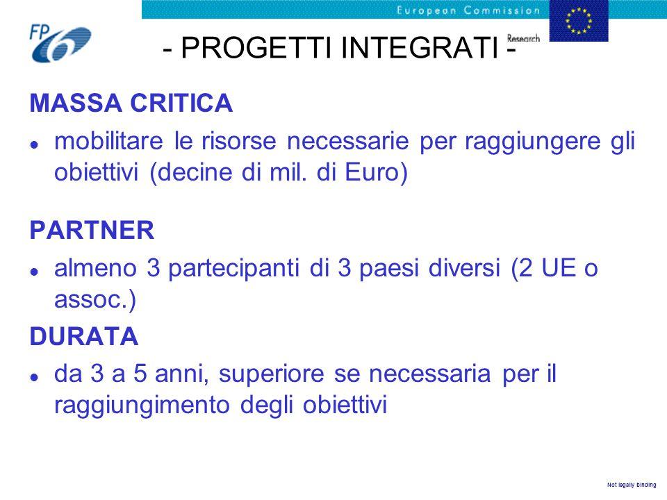 Not legally binding - LE RETI DI ECCELLENZA - MASSA CRITICA l volume di risorse (economiche ed umane) necessarie per perseguire una leadership europea in un settore/priorità.