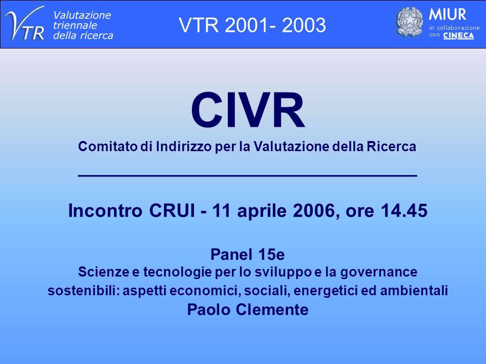 CIVR Comitato di Indirizzo per la Valutazione della Ricerca ________________________________ Incontro CRUI - 11 aprile 2006, ore 14.45 Panel 15e Scienze e tecnologie per lo sviluppo e la governance sostenibili: aspetti economici, sociali, energetici ed ambientali Paolo Clemente VTR 2001- 2003