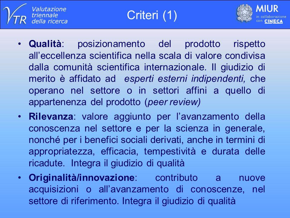 Qualità: posizionamento del prodotto rispetto alleccellenza scientifica nella scala di valore condivisa dalla comunità scientifica internazionale.