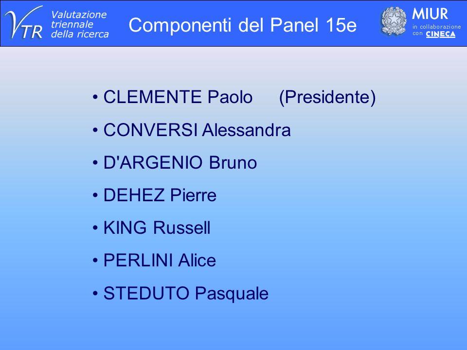 Componenti del Panel 15e CLEMENTE Paolo (Presidente) CONVERSI Alessandra D ARGENIO Bruno DEHEZ Pierre KING Russell PERLINI Alice STEDUTO Pasquale
