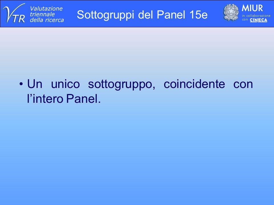 Sottogruppi del Panel 15e Un unico sottogruppo, coincidente con lintero Panel.