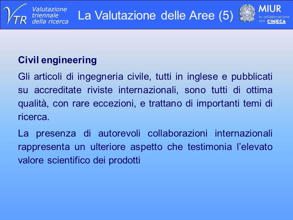La Valutazione delle Aree (5) Civil engineering Gli articoli di ingegneria civile, tutti in inglese e pubblicati su accreditate riviste internazionali, sono tutti di ottima qualità, con rare eccezioni, e trattano di importanti temi di ricerca.