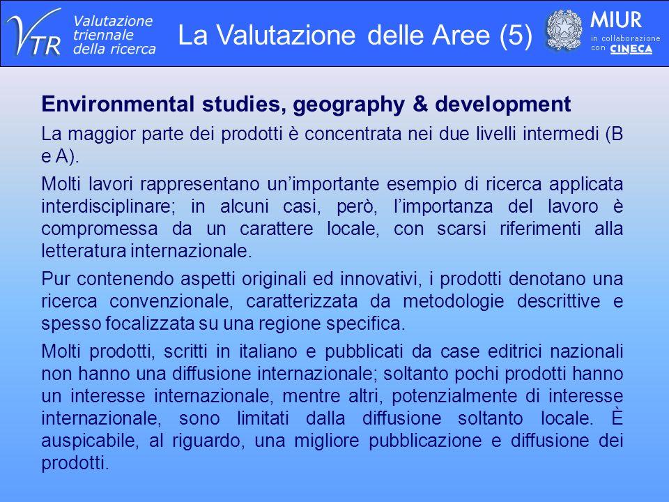 La Valutazione delle Aree (5) Environmental studies, geography & development La maggior parte dei prodotti è concentrata nei due livelli intermedi (B e A).