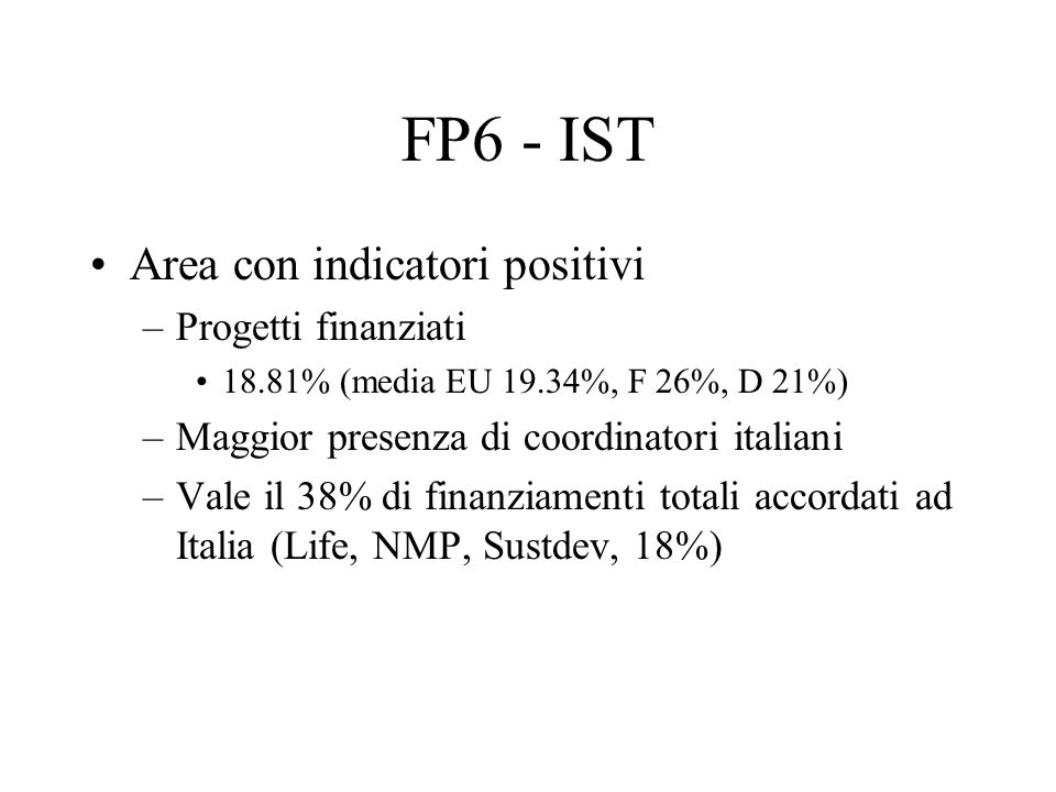 FP6 - IST Area con indicatori positivi –Progetti finanziati 18.81% (media EU 19.34%, F 26%, D 21%) –Maggior presenza di coordinatori italiani –Vale il 38% di finanziamenti totali accordati ad Italia (Life, NMP, Sustdev, 18%)