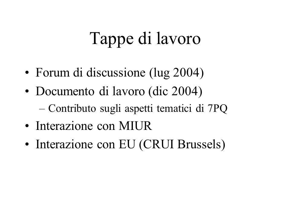 Tappe di lavoro Forum di discussione (lug 2004) Documento di lavoro (dic 2004) –Contributo sugli aspetti tematici di 7PQ Interazione con MIUR Interazione con EU (CRUI Brussels)