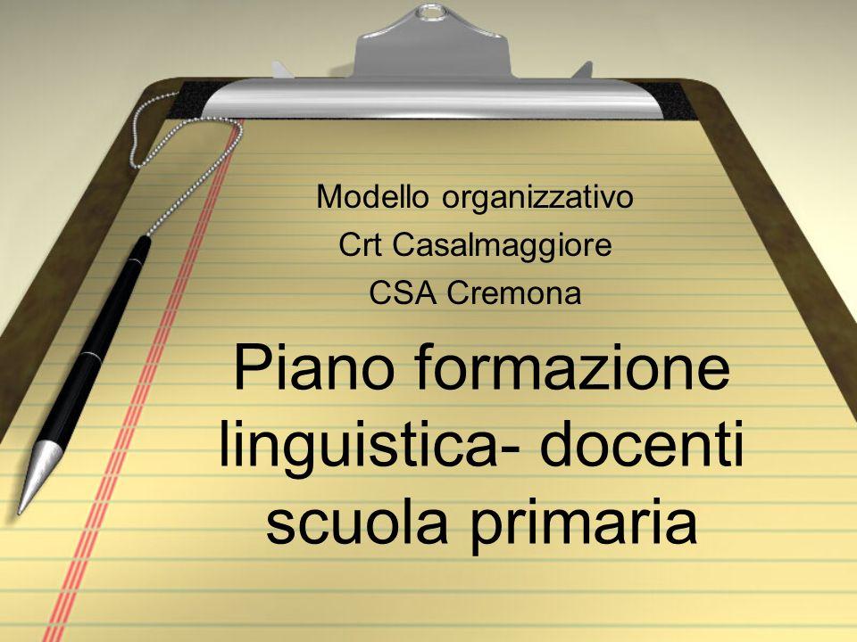 Piano formazione linguistica- docenti scuola primaria Modello organizzativo Crt Casalmaggiore CSA Cremona