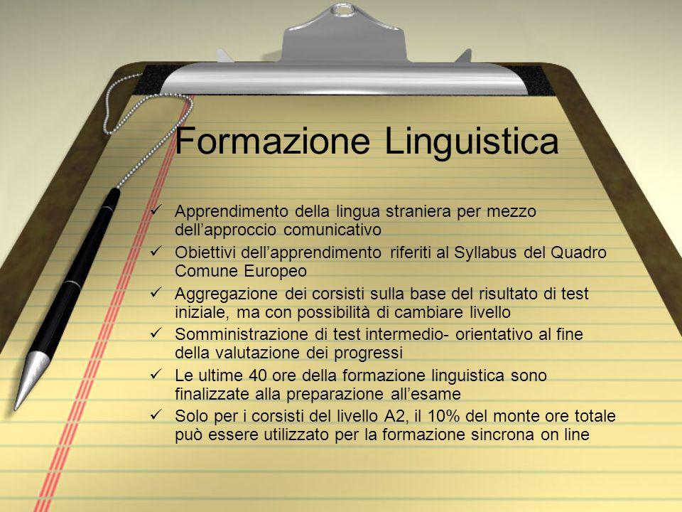 Formazione Linguistica Apprendimento della lingua straniera per mezzo dellapproccio comunicativo Obiettivi dellapprendimento riferiti al Syllabus del
