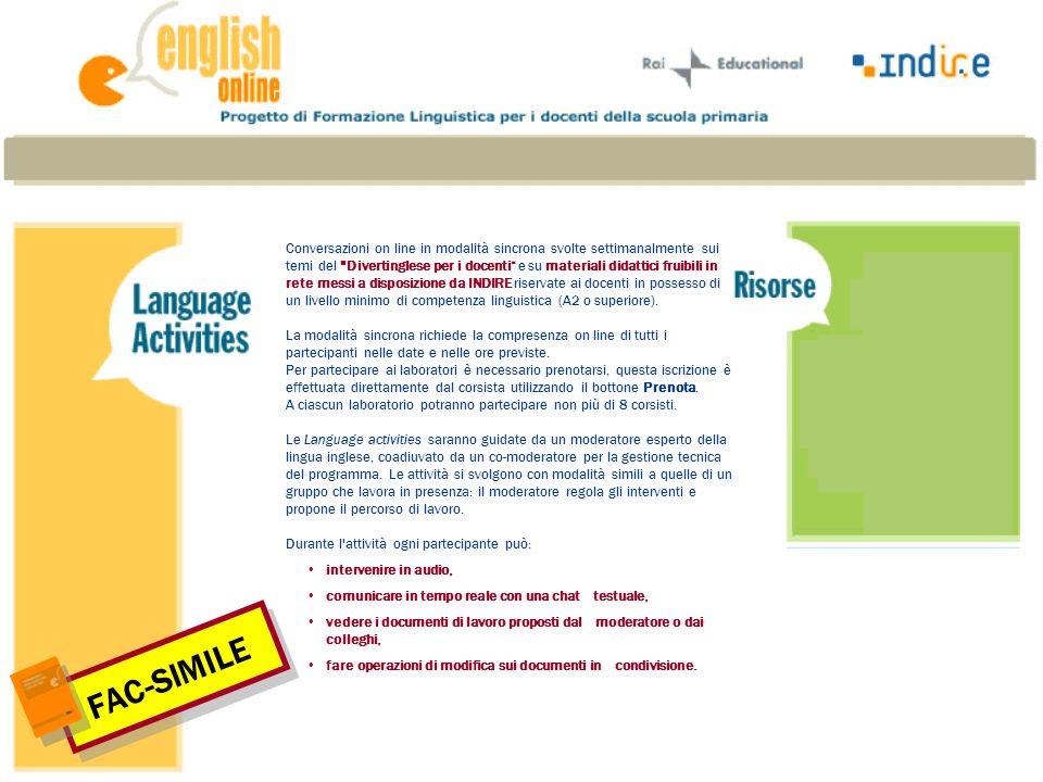 Il laboratorio di gruppo offre la possibilità di lavorare e discutere, in lingua inglese, in modo collaborativo ed in tempo reale.