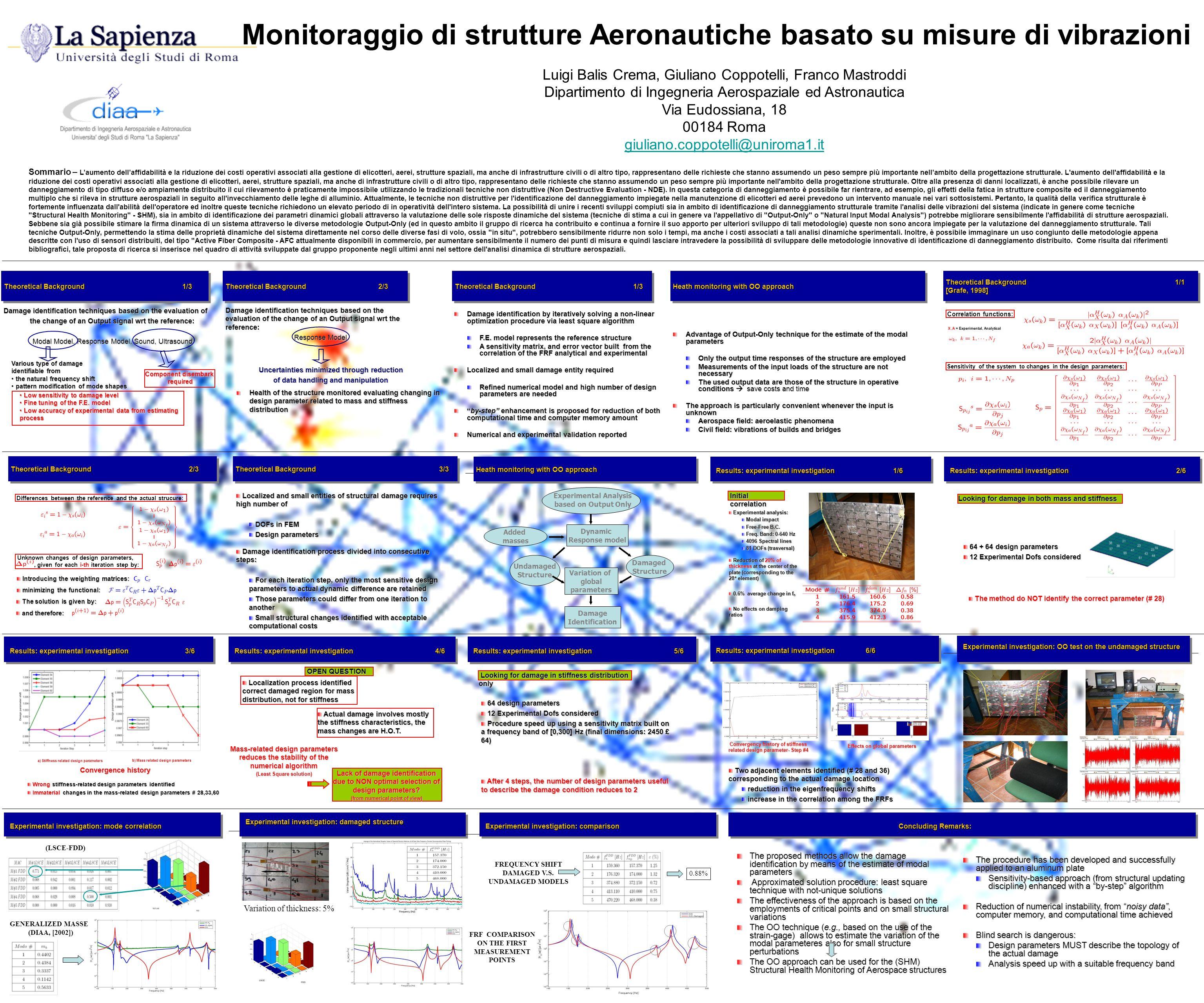 Monitoraggio di strutture Aeronautiche basato su misure di vibrazioni Luigi Balis Crema, Giuliano Coppotelli, Franco Mastroddi Dipartimento di Ingegne