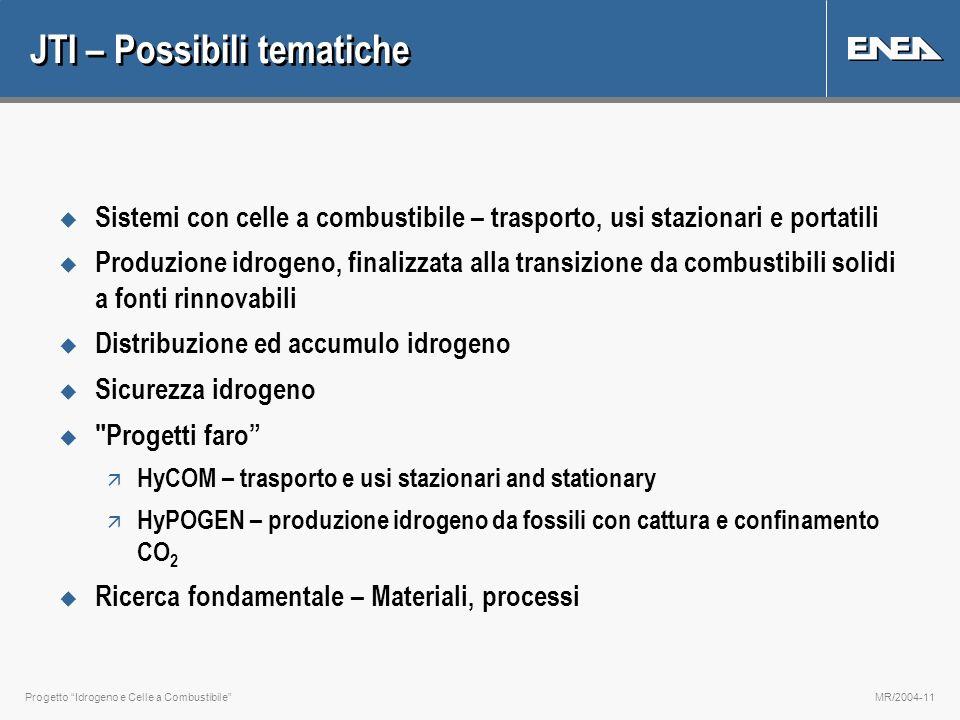 Progetto Idrogeno e Celle a CombustibileMR/2004-11 JTI – Possibili tematiche u Sistemi con celle a combustibile – trasporto, usi stazionari e portatil