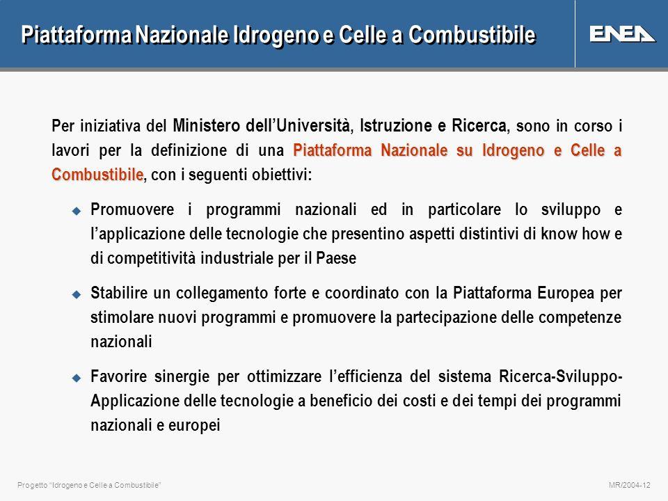 Progetto Idrogeno e Celle a CombustibileMR/2004-12 Piattaforma Nazionale Idrogeno e Celle a Combustibile Piattaforma Nazionale su Idrogeno e Celle a C