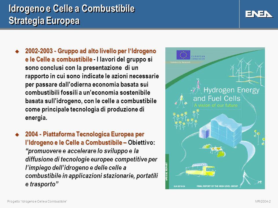 Progetto Idrogeno e Celle a CombustibileMR/2004-2 Idrogeno e Celle a Combustibile Strategia Europea u 2002-2003 - Gruppo ad alto livello per lIdrogeno e le Celle a combustibile u 2002-2003 - Gruppo ad alto livello per lIdrogeno e le Celle a combustibile - I lavori del gruppo si sono conclusi con la presentazione di un rapporto in cui sono indicate le azioni necessarie per passare dall odierna economia basata sui combustibili fossili a un economia sostenibile basata sull idrogeno, con le celle a combustibile come principale tecnologia di produzione di energia.