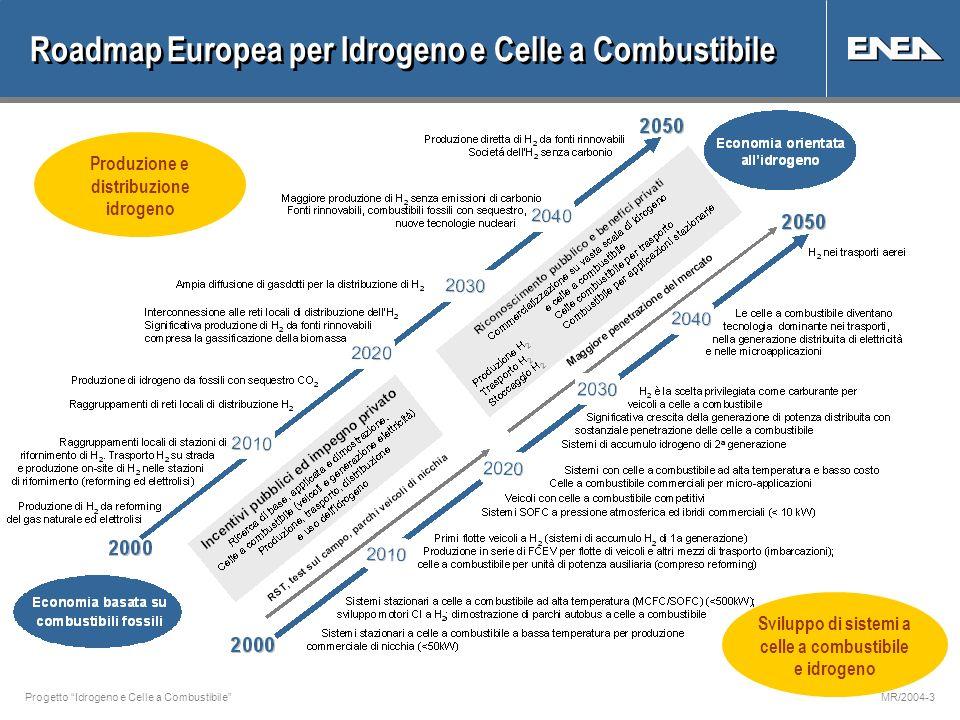 Progetto Idrogeno e Celle a CombustibileMR/2004-3 Roadmap Europea per Idrogeno e Celle a Combustibile Sviluppo di sistemi a celle a combustibile e idrogeno Produzione e distribuzione idrogeno