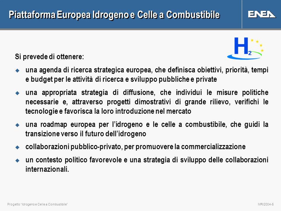 Progetto Idrogeno e Celle a CombustibileMR/2004-5 Piattaforma Europea Idrogeno e Celle a Combustibile Si prevede di ottenere: u una agenda di ricerca