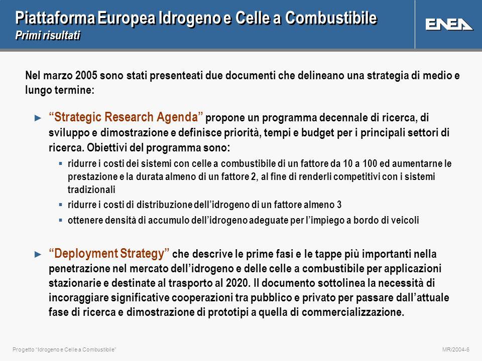 Progetto Idrogeno e Celle a CombustibileMR/2004-6 Piattaforma Europea Idrogeno e Celle a Combustibile Primi risultati Nel marzo 2005 sono stati presen