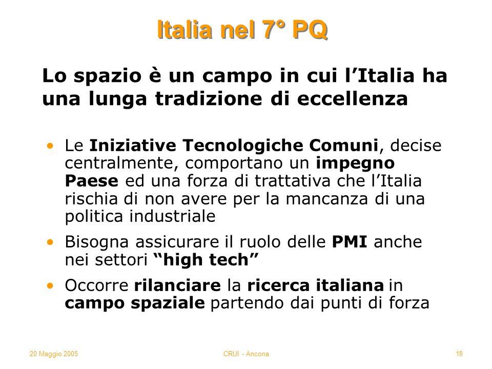 20 Maggio 2005CRUI - Ancona18 Italia nel 7° PQ Le Iniziative Tecnologiche Comuni, decise centralmente, comportano un impegno Paese ed una forza di tra