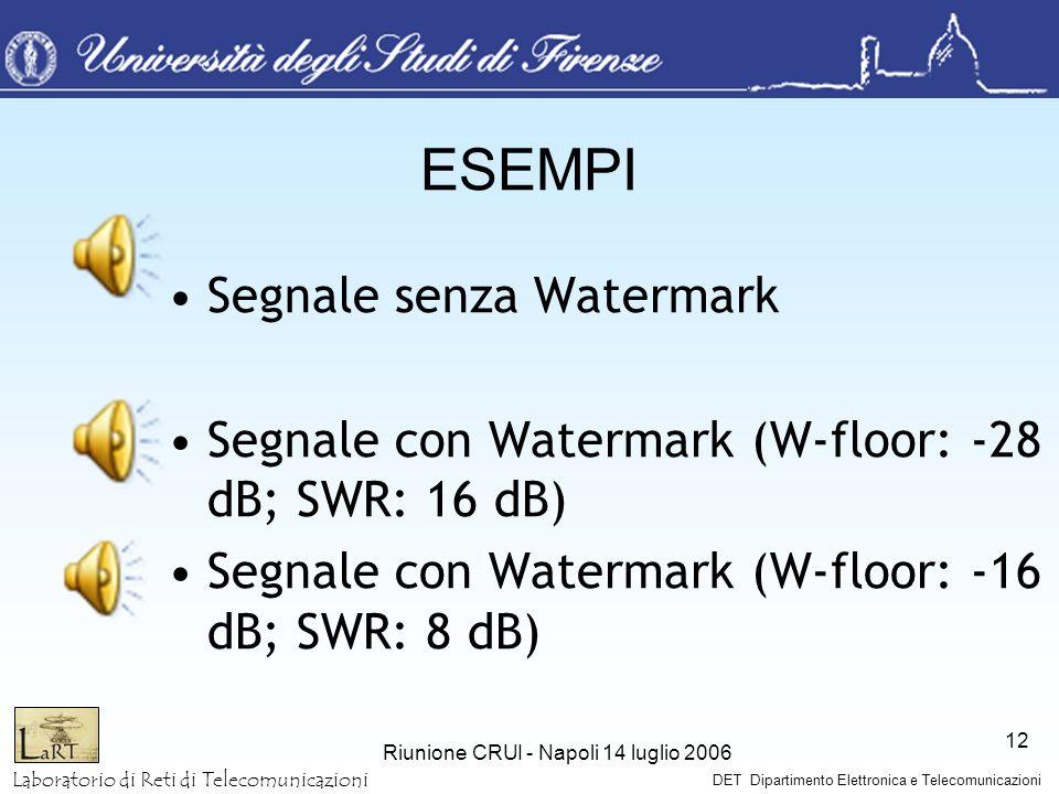 Laboratorio di Reti di Telecomunicazioni DET Dipartimento Elettronica e Telecomunicazioni Riunione CRUI - Napoli 14 luglio 2006 12 ESEMPI Segnale senz
