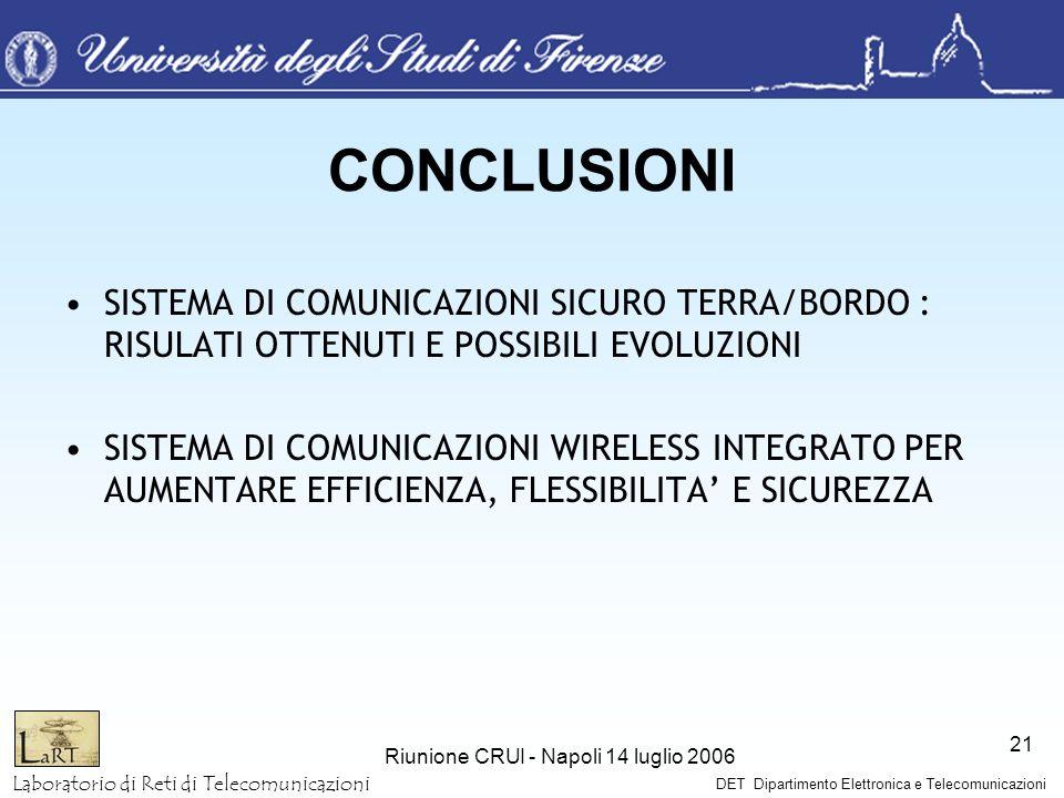 Laboratorio di Reti di Telecomunicazioni DET Dipartimento Elettronica e Telecomunicazioni Riunione CRUI - Napoli 14 luglio 2006 21 CONCLUSIONI SISTEMA