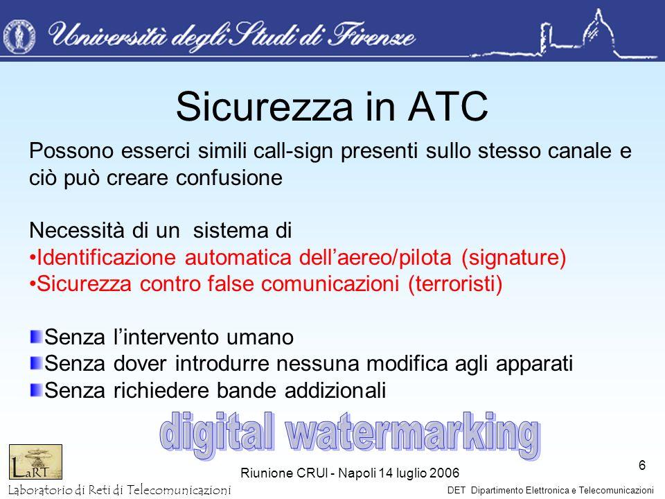 Laboratorio di Reti di Telecomunicazioni DET Dipartimento Elettronica e Telecomunicazioni Riunione CRUI - Napoli 14 luglio 2006 6 Sicurezza in ATC Pos
