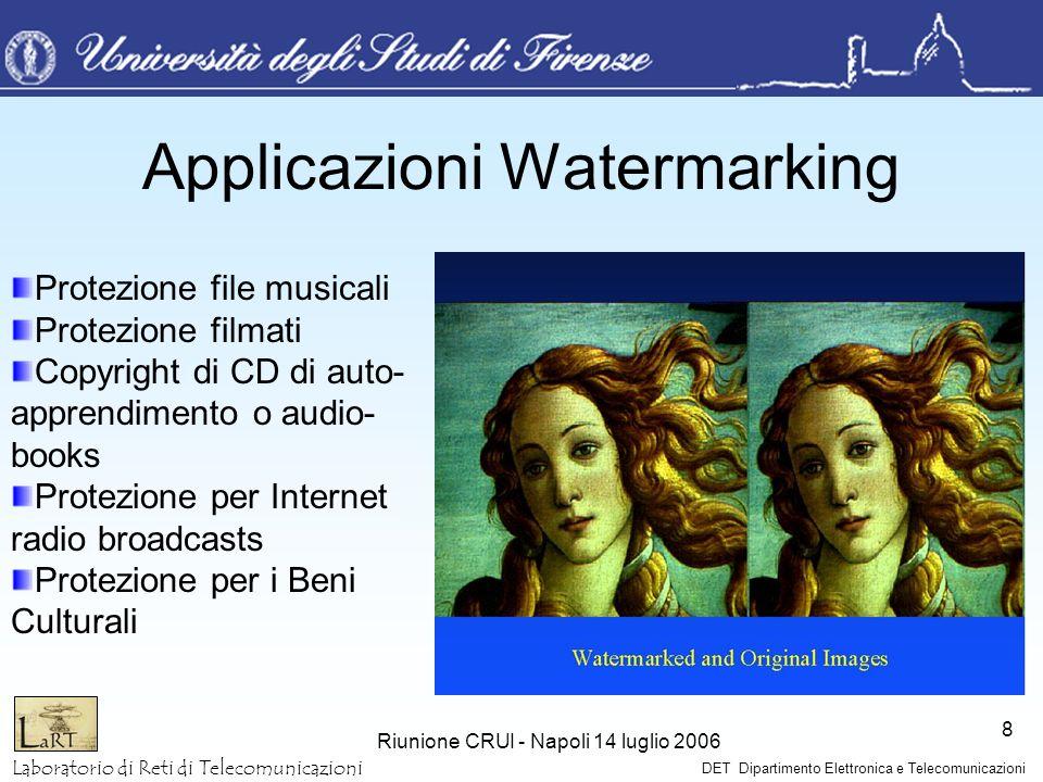 Laboratorio di Reti di Telecomunicazioni DET Dipartimento Elettronica e Telecomunicazioni Riunione CRUI - Napoli 14 luglio 2006 8 Applicazioni Waterma