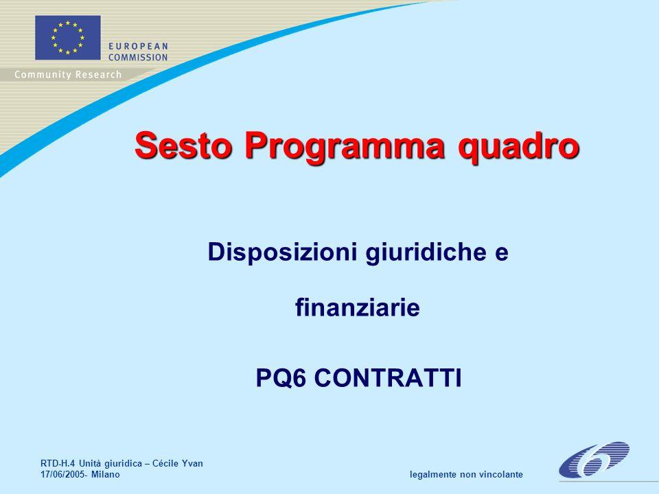RTD-H.4 Unità giuridica – Cécile Yvan 17/06/2005- Milano legalmente non vincolante Sesto Programma quadro Disposizioni giuridiche e finanziarie PQ6 CONTRATTI