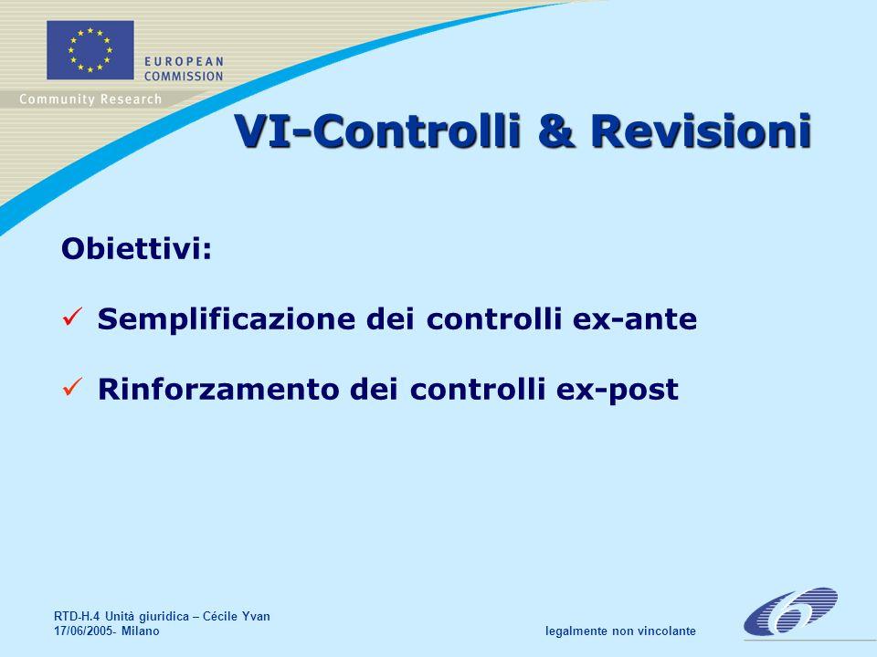 RTD-H.4 Unità giuridica – Cécile Yvan 17/06/2005- Milano legalmente non vincolante VI-Controlli & Revisioni Obiettivi: Semplificazione dei controlli ex-ante Rinforzamento dei controlli ex-post