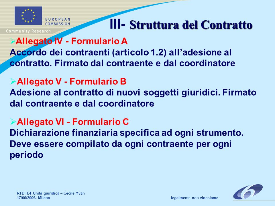RTD-H.4 Unità giuridica – Cécile Yvan 17/06/2005- Milano legalmente non vincolante Informazioni ulteriori Informazioni generali su FP6 in CORDIS & EUROPA http:// europa.eu.int/comm/research/fp6 documenti principali del 6° PQ: http://www.cordis.lu/fp6/find-doc.htm Helpdesks: http://www.ipr-helpdesk.org RTD-A03-Question-juridiques@cec.eu.int
