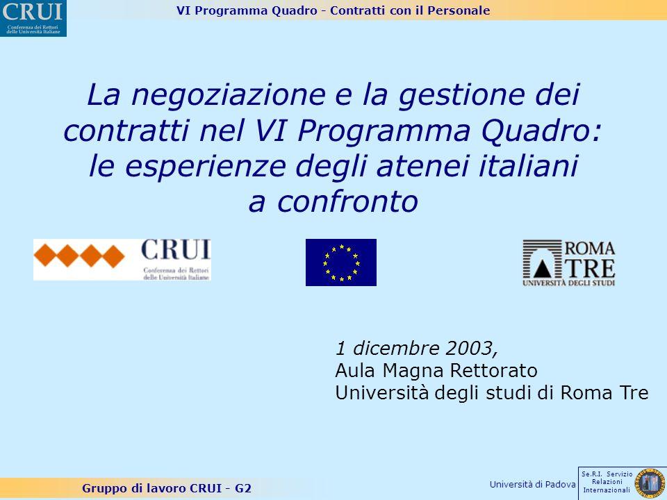 VI Programma Quadro - Contratti con il Personale Gruppo di lavoro CRUI - G2 Se.R.I. Servizio Relazioni Internazionali Università di Padova La negoziaz