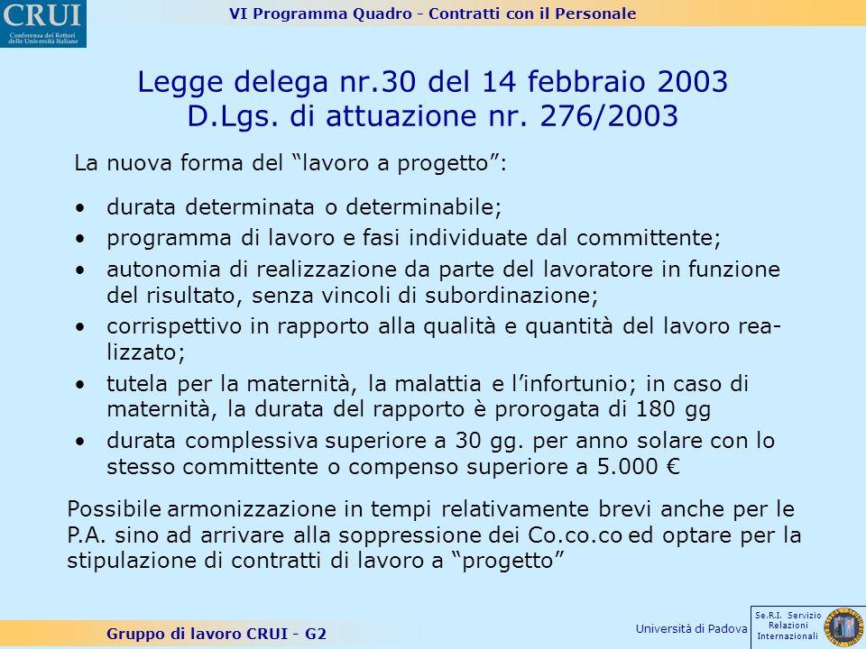 VI Programma Quadro - Contratti con il Personale Gruppo di lavoro CRUI - G2 Se.R.I. Servizio Relazioni Internazionali Università di Padova Legge deleg