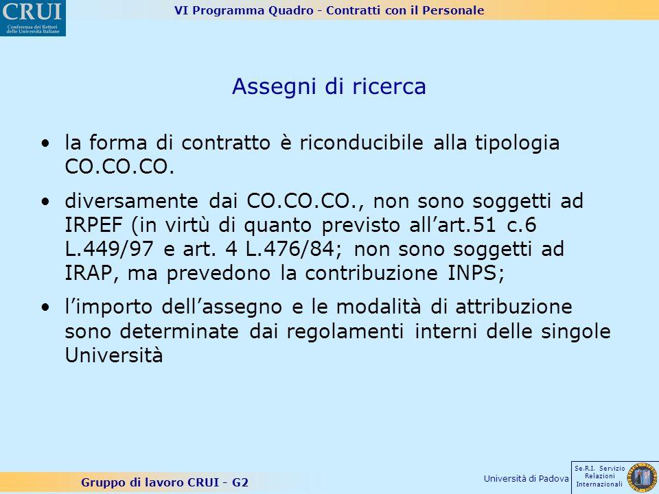 VI Programma Quadro - Contratti con il Personale Gruppo di lavoro CRUI - G2 Se.R.I. Servizio Relazioni Internazionali Università di Padova Assegni di