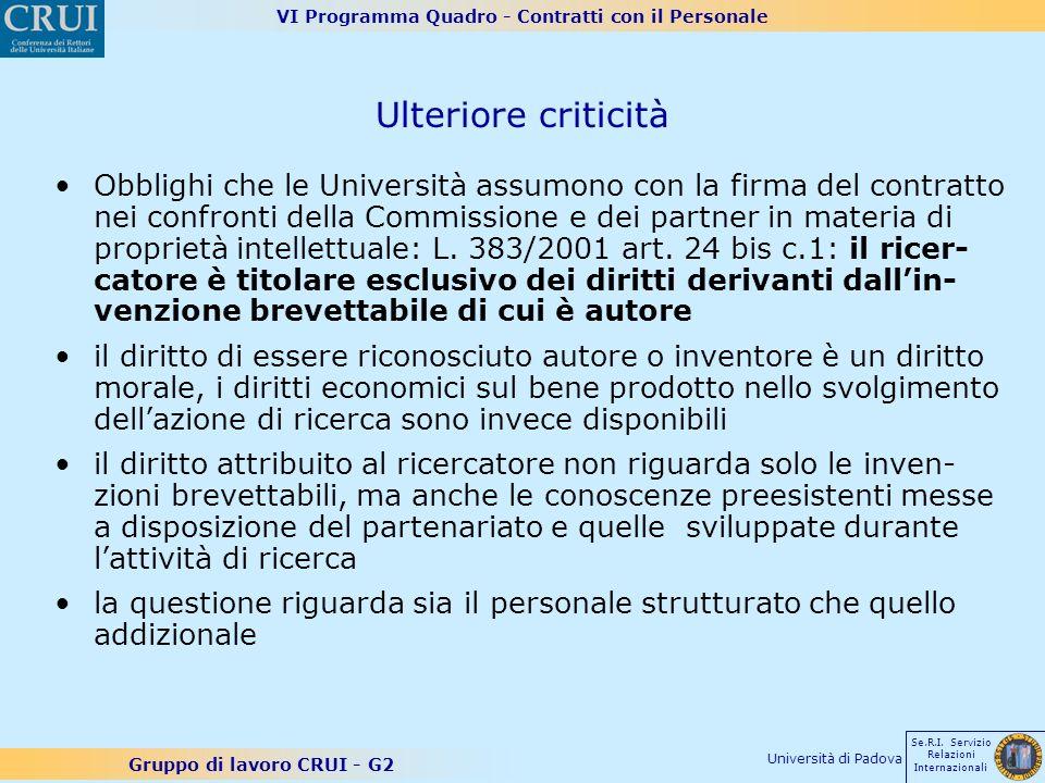 VI Programma Quadro - Contratti con il Personale Gruppo di lavoro CRUI - G2 Se.R.I. Servizio Relazioni Internazionali Università di Padova Ulteriore c