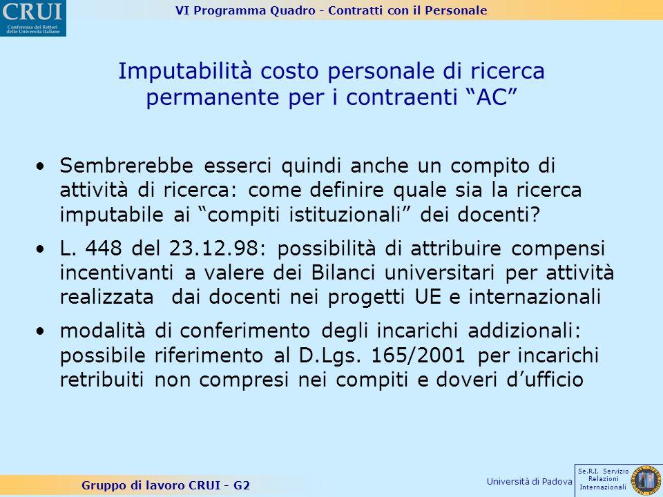 VI Programma Quadro - Contratti con il Personale Gruppo di lavoro CRUI - G2 Se.R.I. Servizio Relazioni Internazionali Università di Padova Imputabilit