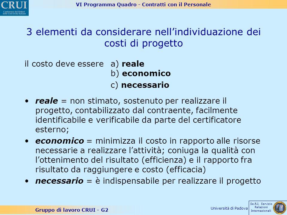 VI Programma Quadro - Contratti con il Personale Gruppo di lavoro CRUI - G2 Se.R.I. Servizio Relazioni Internazionali Università di Padova 3 elementi