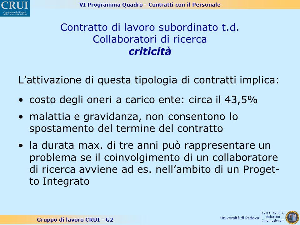 VI Programma Quadro - Contratti con il Personale Gruppo di lavoro CRUI - G2 Se.R.I. Servizio Relazioni Internazionali Università di Padova Contratto d