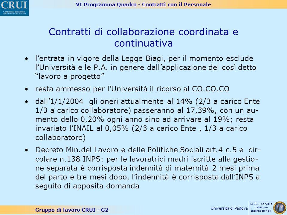 VI Programma Quadro - Contratti con il Personale Gruppo di lavoro CRUI - G2 Se.R.I. Servizio Relazioni Internazionali Università di Padova Contratti d