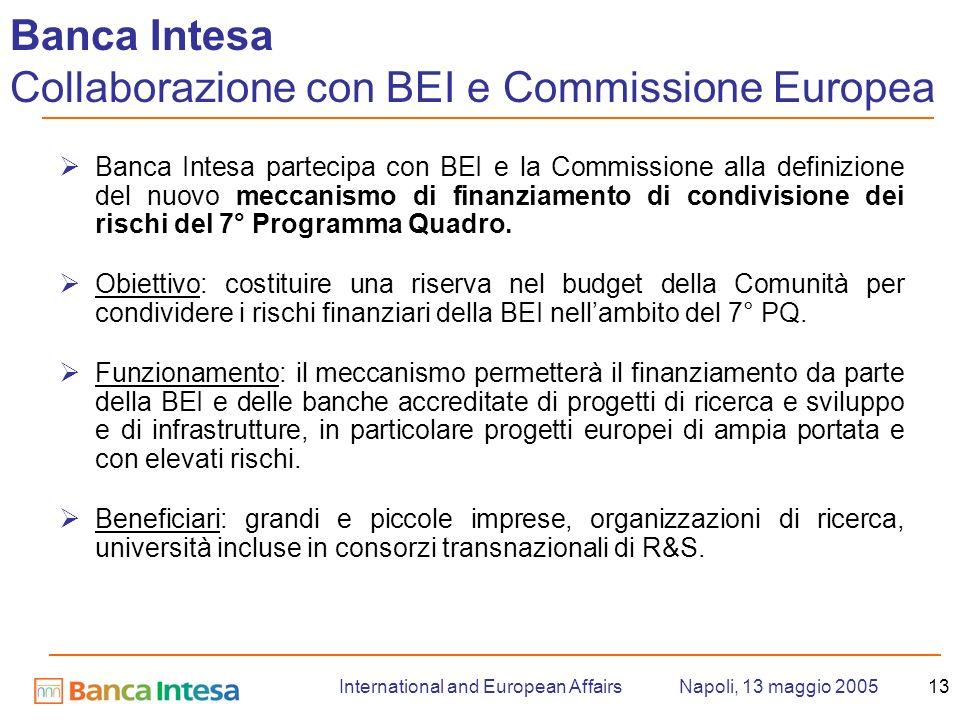 Napoli, 13 maggio 2005International and European Affairs13 Banca Intesa partecipa con BEI e la Commissione alla definizione del nuovo meccanismo di finanziamento di condivisione dei rischi del 7° Programma Quadro.