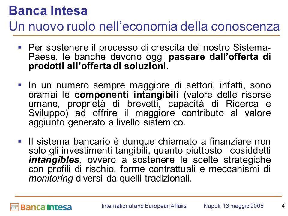 Napoli, 13 maggio 2005International and European Affairs4 Per sostenere il processo di crescita del nostro Sistema- Paese, le banche devono oggi passare dallofferta di prodotti allofferta di soluzioni.