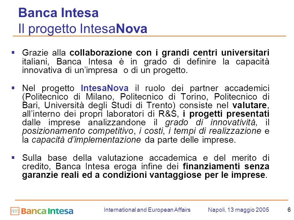 Napoli, 13 maggio 2005International and European Affairs6 Banca Intesa Il progetto IntesaNova Grazie alla collaborazione con i grandi centri universitari italiani, Banca Intesa è in grado di definire la capacità innovativa di unimpresa o di un progetto.