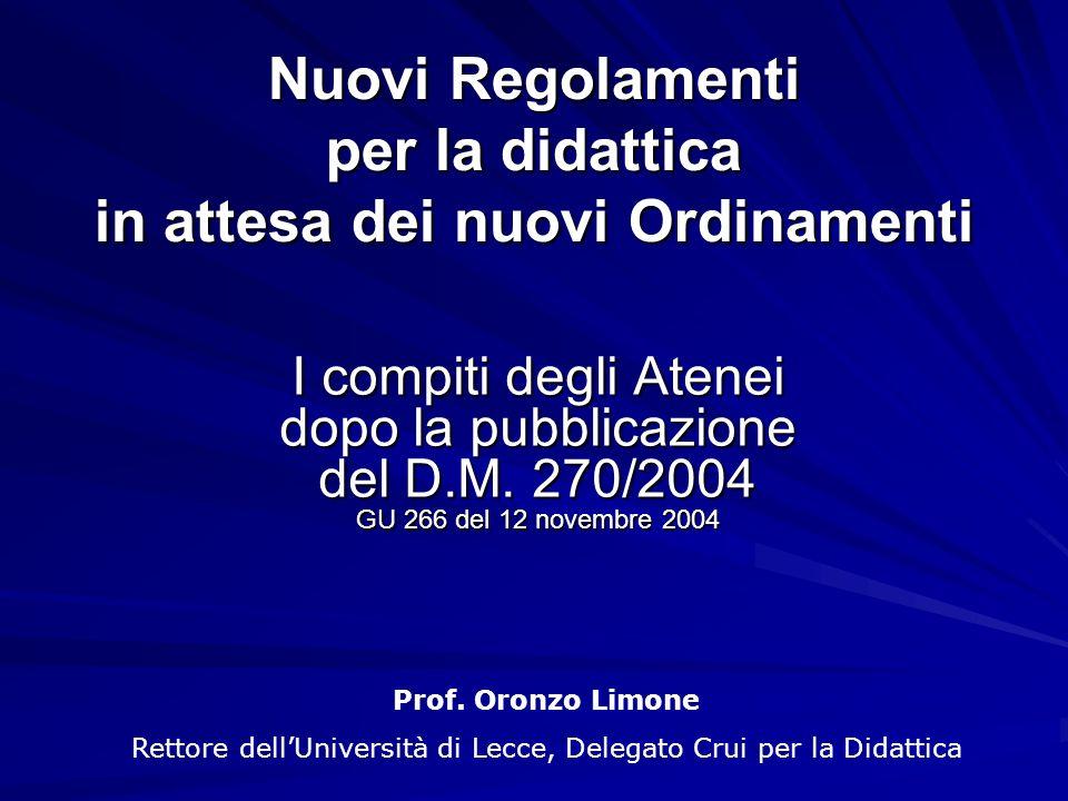 Nuovi Regolamenti per la didattica in attesa dei nuovi Ordinamenti I compiti degli Atenei dopo la pubblicazione del D.M.